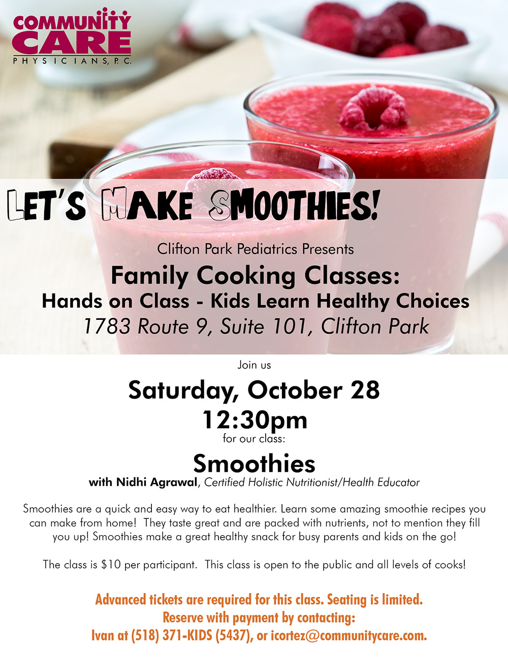 Clifton Park Pediatrics presents - Family Cooking Classes: Smoothies